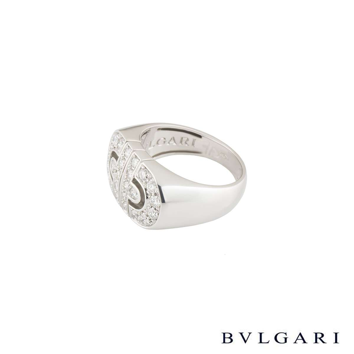 Bvlgari White Gold Diamond Parentesi Ring Size 53 AN853699